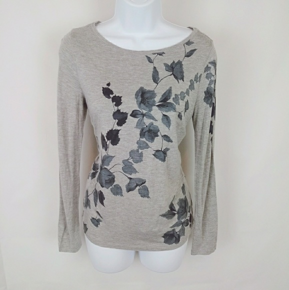 Talbots Tops - Talbots gray floral print long sleeve top small